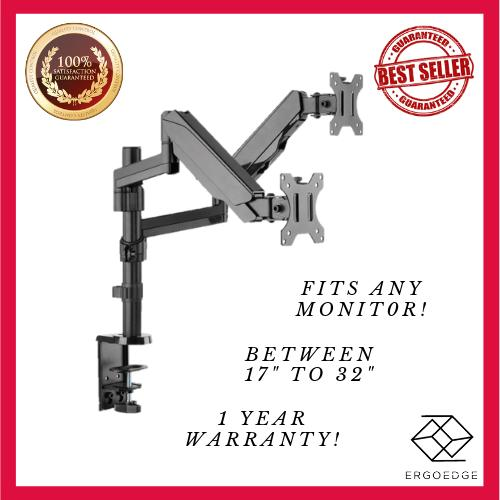 ErgoEdge Double Monitor Gas Spring Arm Mount, 17-32, Vesa Compatible, 1~8kg, Cable Management Included, Desk Clamp, Hole Clamp