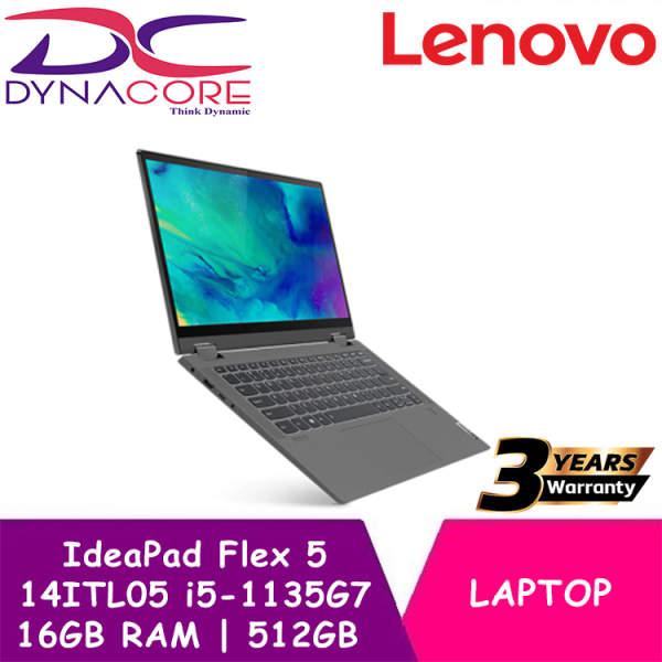 【DELIVERY IN 24 HOURS】 DYNACORE - Lenovo 2-in-1 NEW 11th GEN IDEAPAD FLEX 5i 82HS000XSB 14ITL05 | Intel Core i5-1135G7 Processor | 16GB RAM | 512GB NVMe PCIe SSD | Intel Iris Xe Graphics | Windows 10 Home | 3 Years On-Site WARRANTY