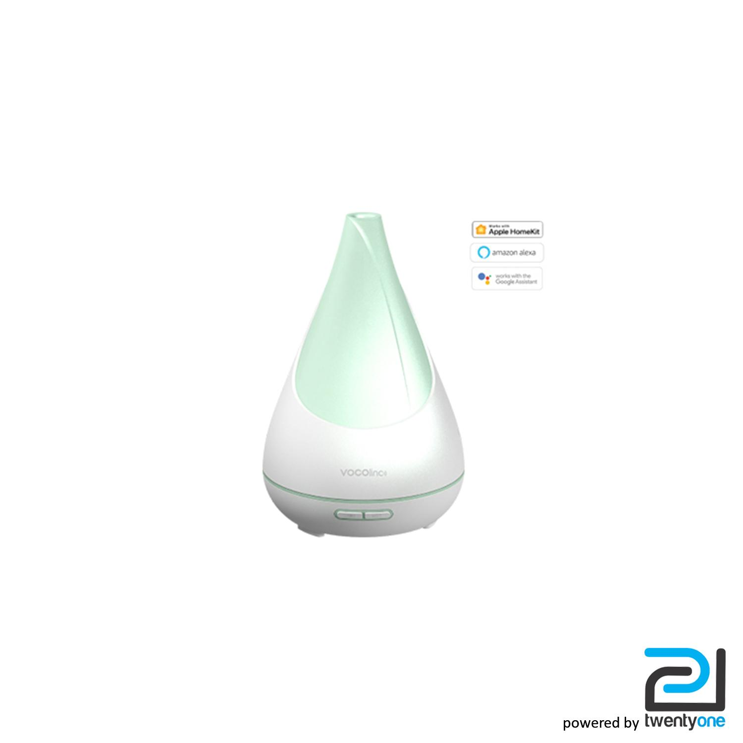 Vocolinc - Flowerbud Smart Essential Oil Aromatherapy Diffuser, 300Ml Ultrasonic Adjustable Cool Mist Humidifier, Multicolor Relaxing Light, Works W/ Homekit, Alexa and Google Assistant, 2.4Ghz Wi-Fi