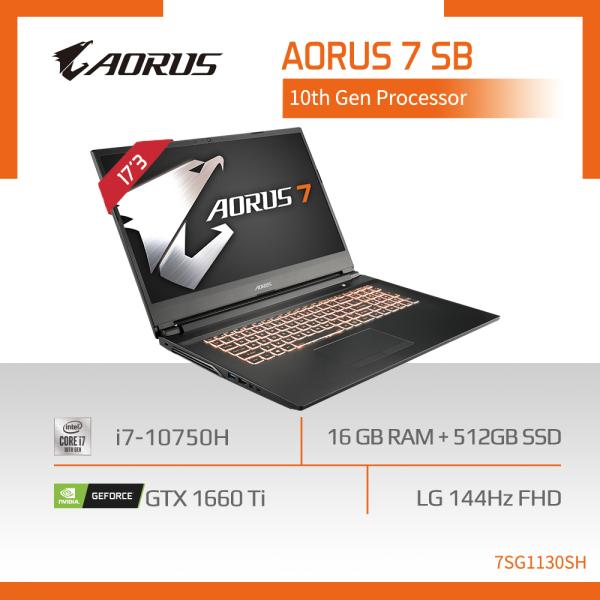 AORUS 7 SB (i7-10750H/16GB DDR4 2666 (8GBx2)/GeForce GTX 1660 Ti GDDR6 6GB/512GB M.2 PCIE SSD/17.3inch Thin Bezel 144Hz IPS Display/WINDOWS 10 HOME) [Ships 2-5 days]