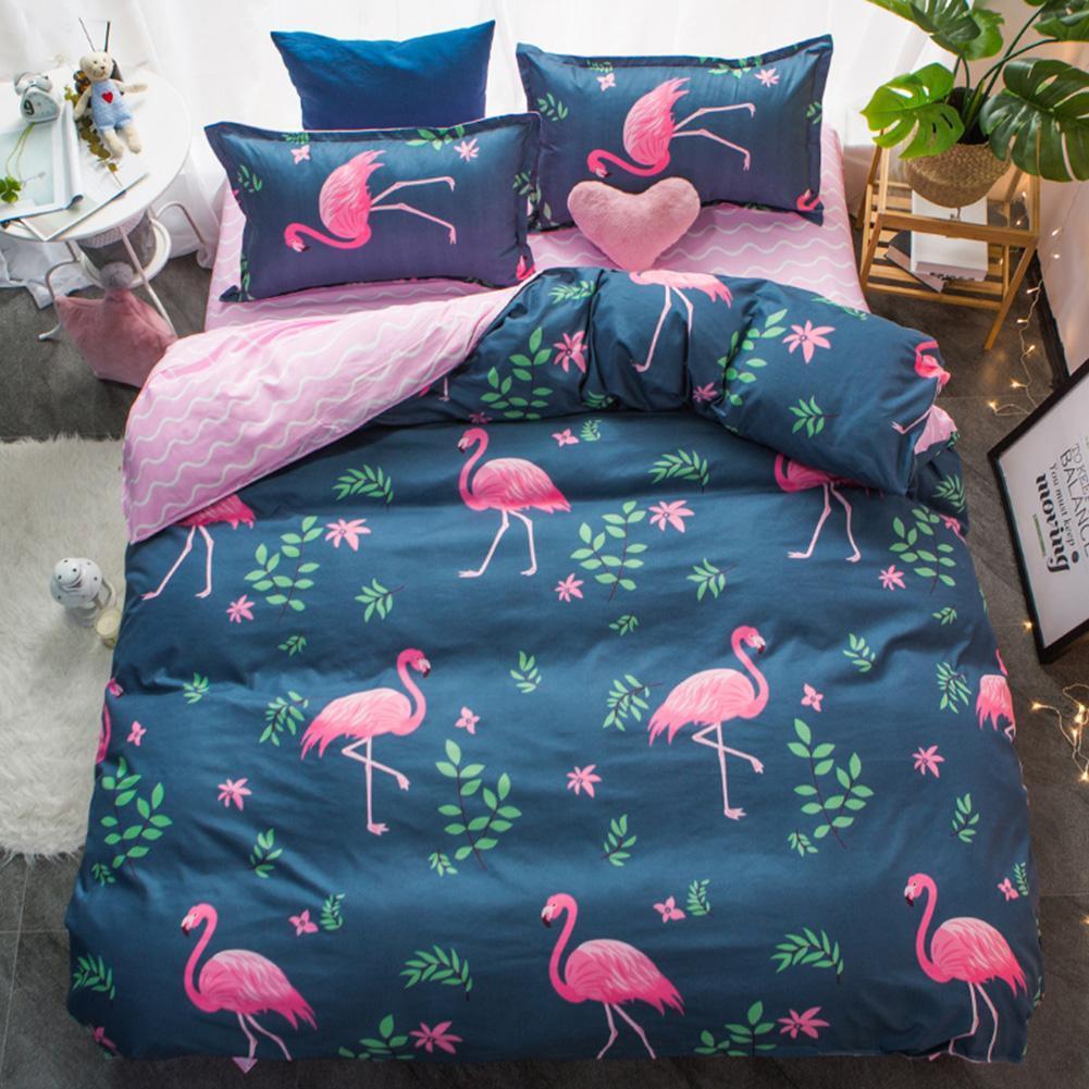 3/4pcs Pink Bird Printed Bedding Set Duvet Cover Flat Bed Sheet Pillowcases