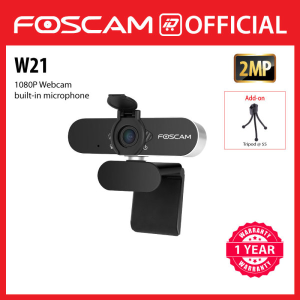 [NEW] Foscam W21 (USB-A / USB-C), 1080P webcam with built-in microphone for livestreaming