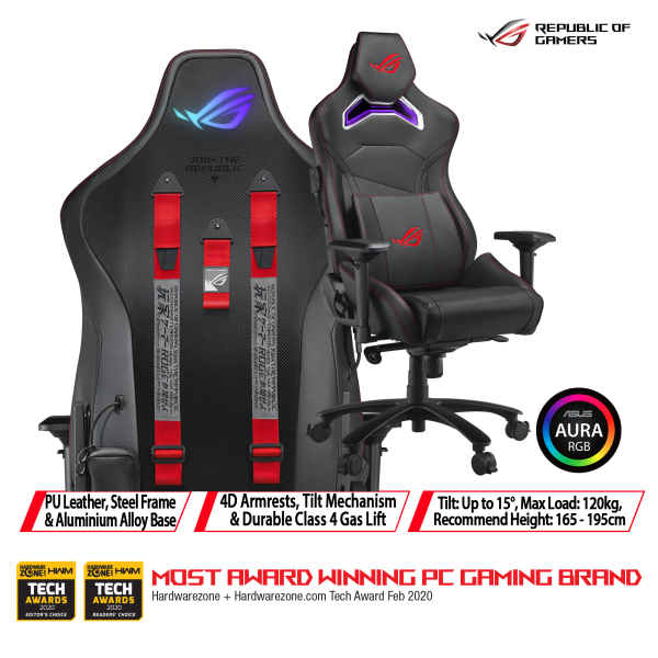 [Free Installation & Delivery] ASUS ROG Chariot RGB gaming chair in racing-car style, featuring an adjustable high-density foam headrest, memory-foam lumbar support , 4D armrests, tilt mechanism and durable Class 4 gas lift