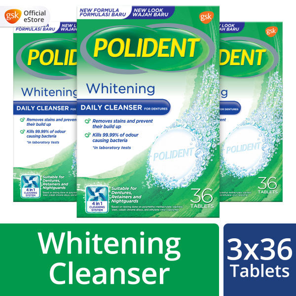 Buy [Bundle of 3] Polident Whitening Cleanser for Denture and Retainer Cleaning Tablets, 36 Tablets Singapore