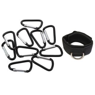 11 Pcs Accessories 10 Pcs D Shaped Snap Clip Key Chain Carabiner Hook & 1 Pcs Ankle Strap D-Ring Multi Gym Cable thumbnail