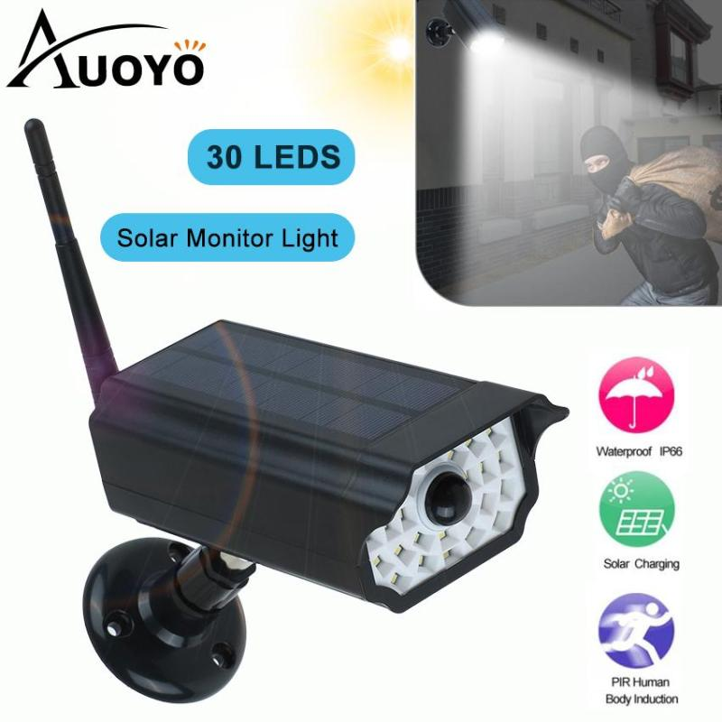 Auoyo Outdoor Lighting Solar Motion Sensor Lights Solar LED Wall Lamp IP65 Waterproof Imitation Fake Monitor Wireless Outdoor Floodlight Security Lamp for Yard Driveway Lawn