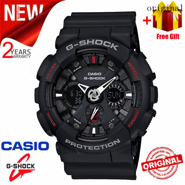 2021 Original Casio G Shock GA120 Men Sport Watch Dual Time Display 200M Water Resistant Shockproof and Waterproof World Time LED Auto Light Sports Wrist Watches with 2 Year Warranty GA-120-1A Black (Ready Stock) Malaysia