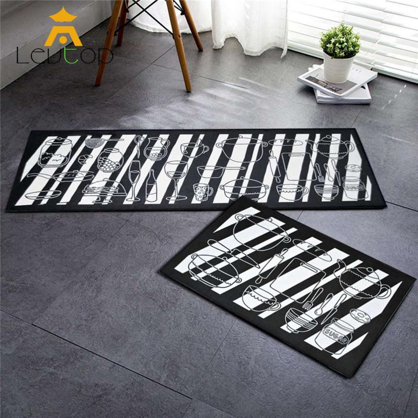 LEVTOP 2 Kitchen Antislip Carpets Soft Flannel Carpet Rug Floor Mat Kitchen Dapur and Bathroom (120cm x 40cm) Free (60 x 40cm)