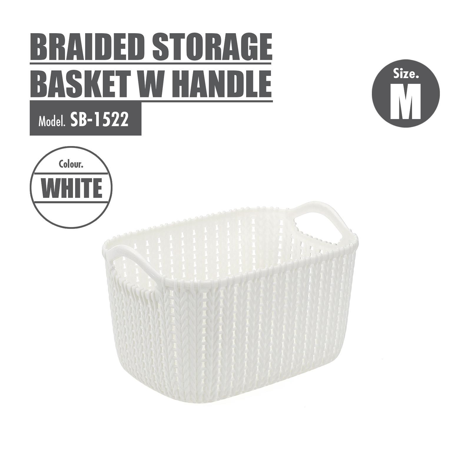 Houze Braided Storage Basket With Handle - Medium - White - SB-1522-WHITE