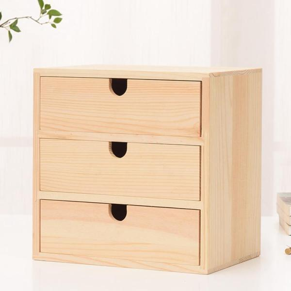 Home Decoration Storage Wooden Small Drawer 3 Layers Natural Wooden Drawer Bedside Table