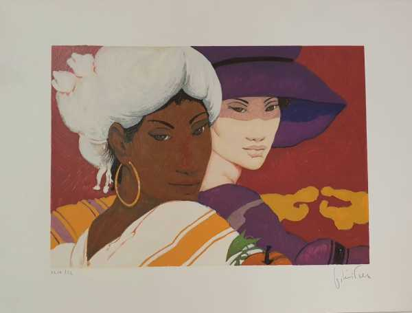 Donne Su Fondo Rosso - Women On a Red Background, Serigraphs print on paper, 50*70, 1990, Goffredo Civiterese (Italy)