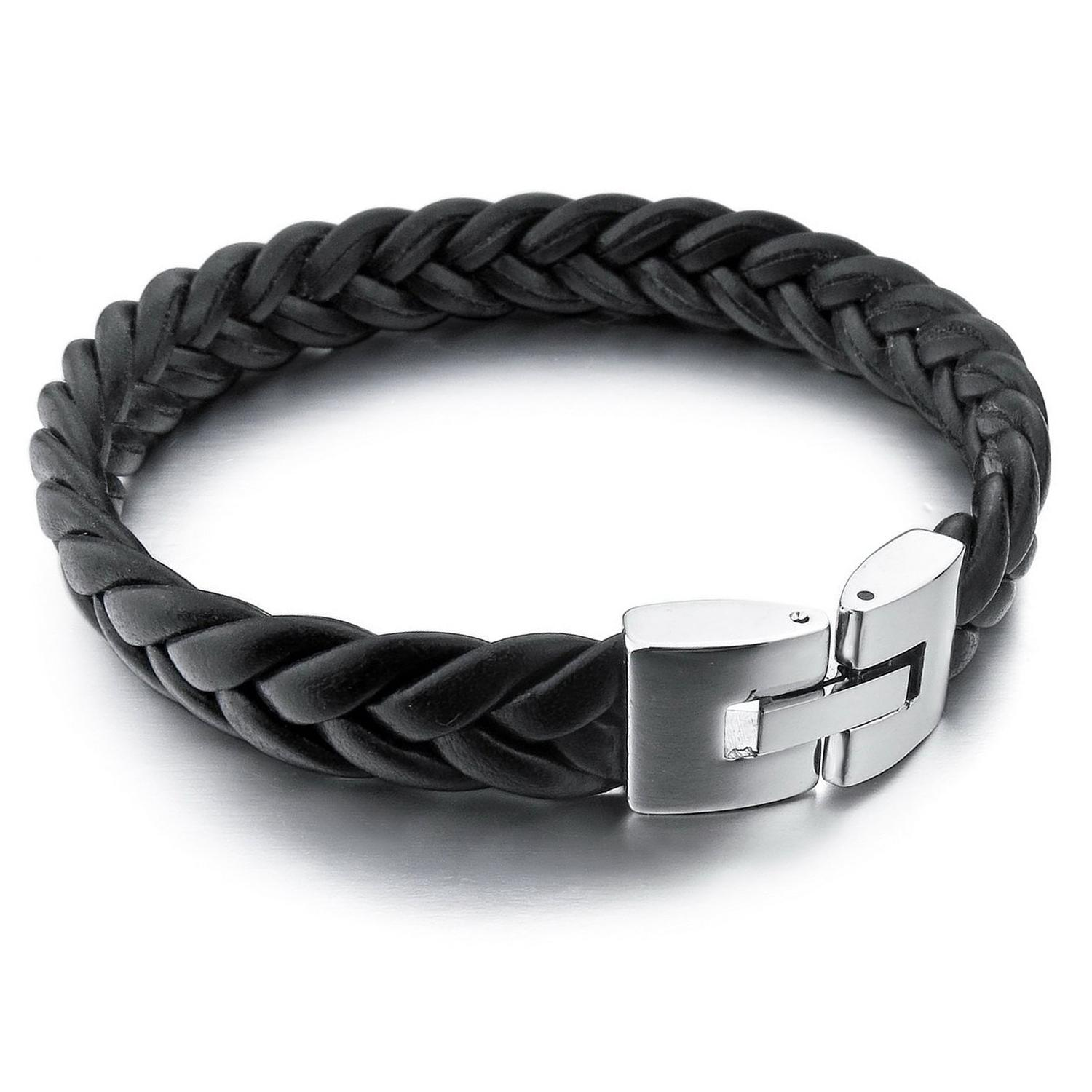 Mendino 10mm Mens Cord Braided Bangle Leather Stainless Steel Bracelet Black Tone 8/8.5/9 Inch By Wripples.