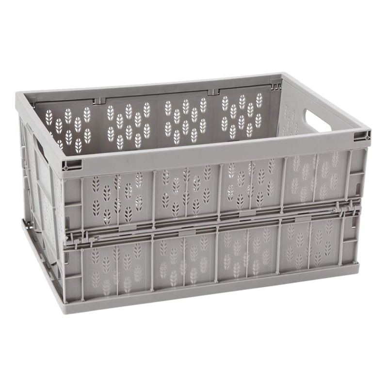 Collapsible Storage Bin,Milk Crate and Reusable Folding Moving Box, 17.7 in X 12 in X 9 In, for Auto Organizing, Moving, Long Time Storage (PP, Grey, Medium)