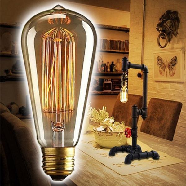 A5TG 1 PC Màu trắng ấm áp Giá đỡ E27 Đầu nối vít Bóng đèn Trang trí Đèn Edison Bóng đèn cổ điển Retro Dây tóc Thủy tinh