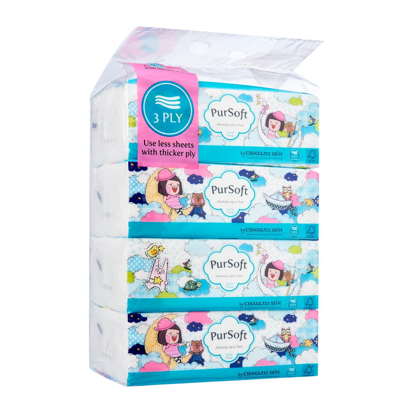 PurSoft Chocolate Rain Outdoor 3-Ply Facial Tissue - Soft Pack