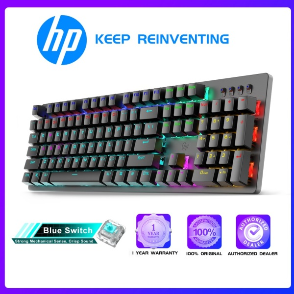 HP Wired Mechanical Gaming Keyboard Mixed Backlight Adjustable LED Lighting (GK100F)