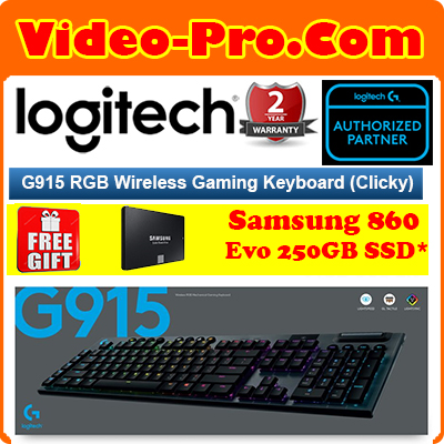 Logitech G915 LightSpeed Wireless RGB Mechanical Gaming Keyboard Clicky / Linear / Tactile Key Switches 2-Years Local Warranty Singapore