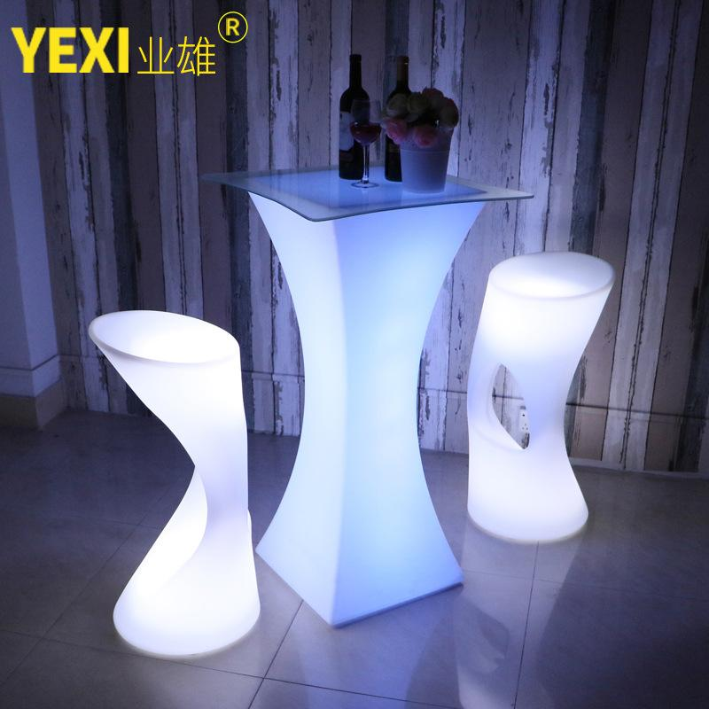 LED Bar Table Outdoor Light-emitting Furniture Remote Control Sevev Colours Charging gao jiao zhuo LED Cocktail Table