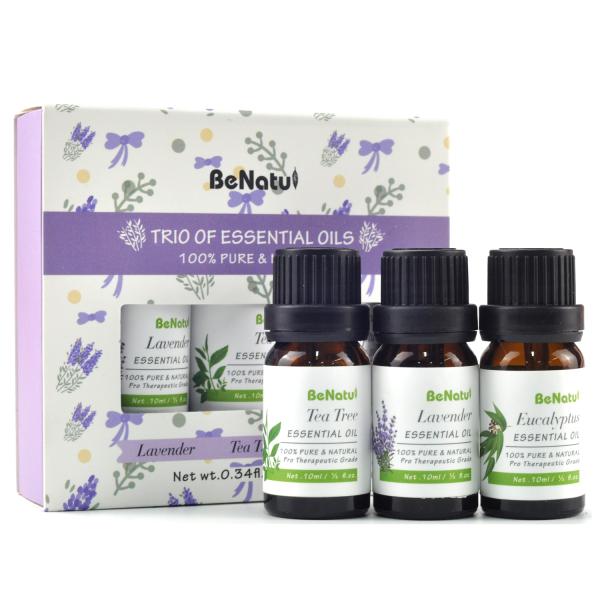 Buy BeNatu Essential Oils-Lavender, Tea Tree, Eucalyptus Organic Aromatherapy Kit for Diffuser, Skin Care,Soap,3 Packs -10ml Singapore