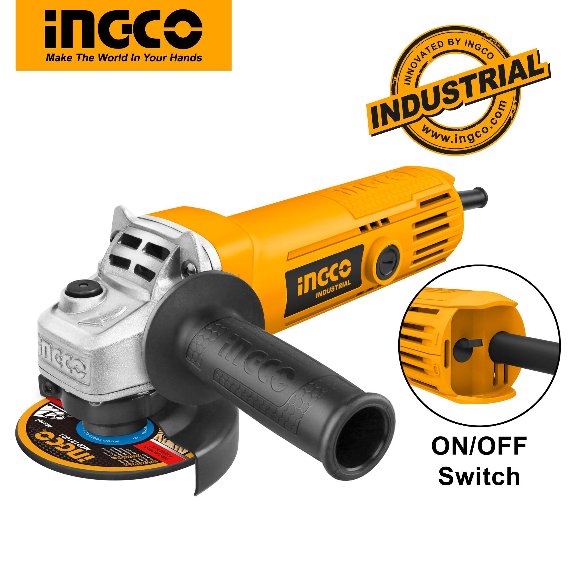 INGCO 710W Angle Grinder 11000rpm 100mm with 1pcs Auxiliary Handle AG7106-2