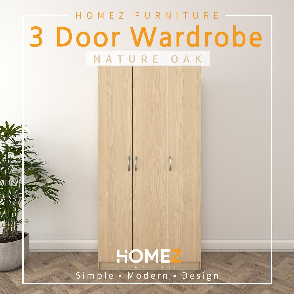 (Free Delivery & Installation) Homez 3 Door Wardrobe Solid Board with 6 Shelves - HMZ-WD-DT-6001  - 3 ft