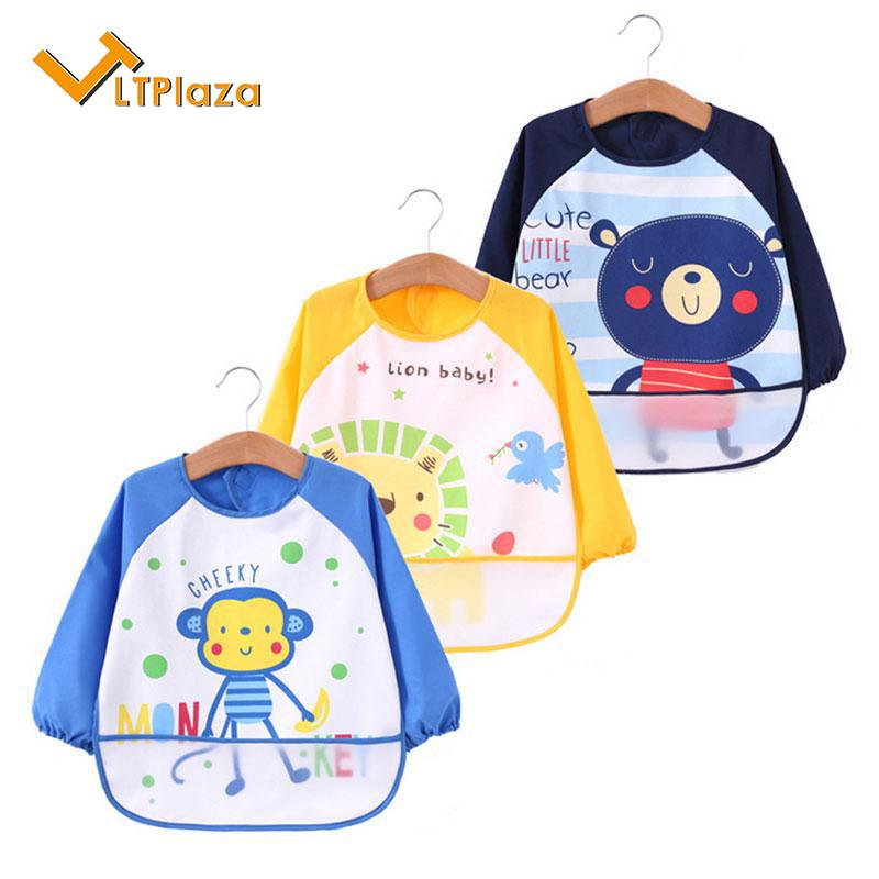50a5e6fd1 Baby Bibs with Sleeves, 3Pcs Waterproof Kids Art Smocks Long Sleeved Bibs  with Pocket,