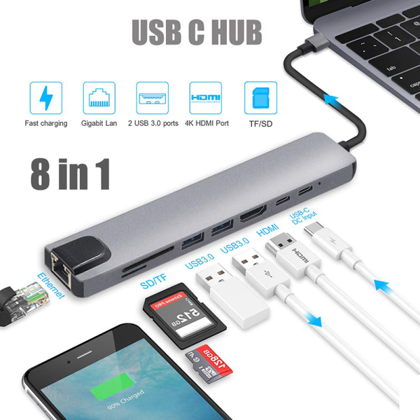 Usb type c hub 8 in 1 usb hub multi function adapter for MacBook Pro and Type C Windows Laptops