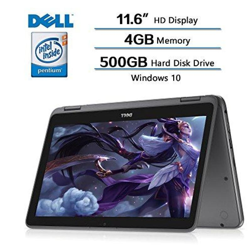 Dell Inspiron 11.6 2-in-1 Convertible HD Touchscreen Laptop - Intel Quad-Core Pentium N3710 1.6GHz, 500GB HDD, 4GB RAM, MaxxAudio, 802.11bgn, Webcam, Bluetooth, HDMI, Win 10