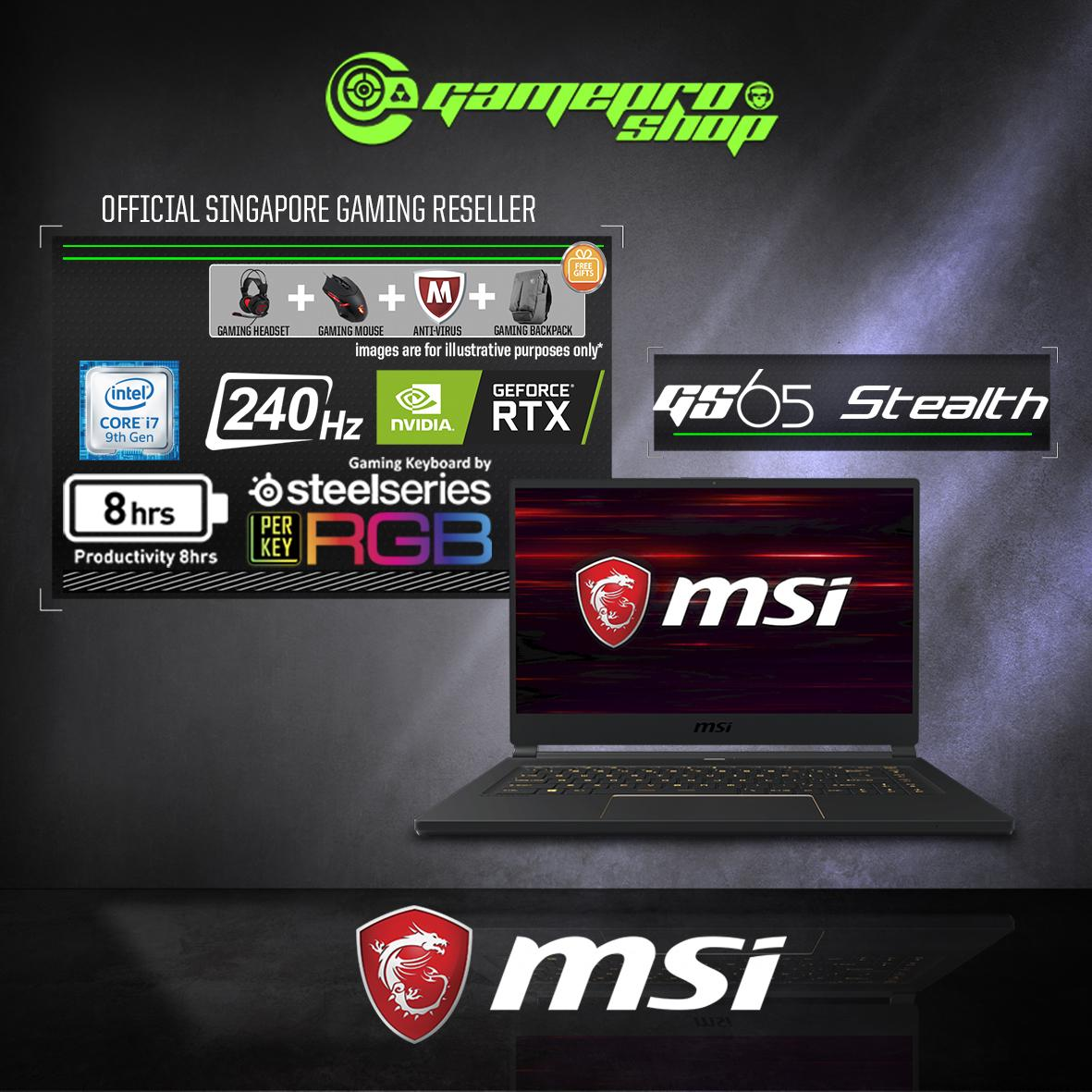 9th Gen MSI GS65 RTX2080 STEALTH 9SG - 682SG (i7-9750H / 32GB / 1TB SSD / RTX2080 Max-Q) 15.6 FHD with 240Hz GAMING LAPTOP *GSS PROMO*