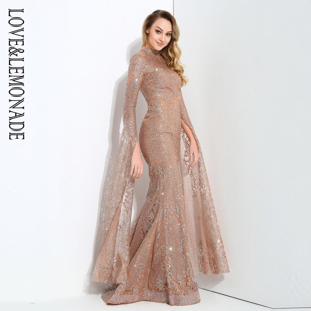 76bd225e97b Love&Lemonade Rose Gold Cut Out Speaker Long Sleeve Geometry Glitter Glued  Long Dress LM0702 Black