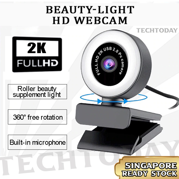 [SG In-Stock] Full 2K HD & HD 1080P WebCam with Beauty Light | Mountable on Stand| Web Camera Auto Focus with Microphone