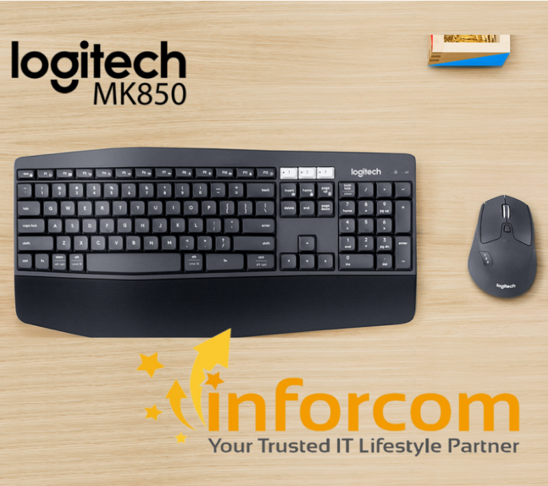 Logitech MK850 Performance Wireless Bluetooth Multi Device Unifying Keyboard and Mouse Combo with Cushion Palm Rest Singapore
