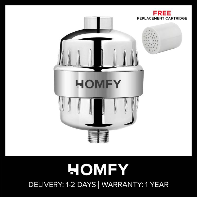 Buy Homfy High Output Revitalizing Shower Filter - Reduces Dry Itchy Skin, Dandruff, Eczema, and Dramatically Improves The Condition of Your Skin, Hair and Nails - Chrome (SF100) Singapore