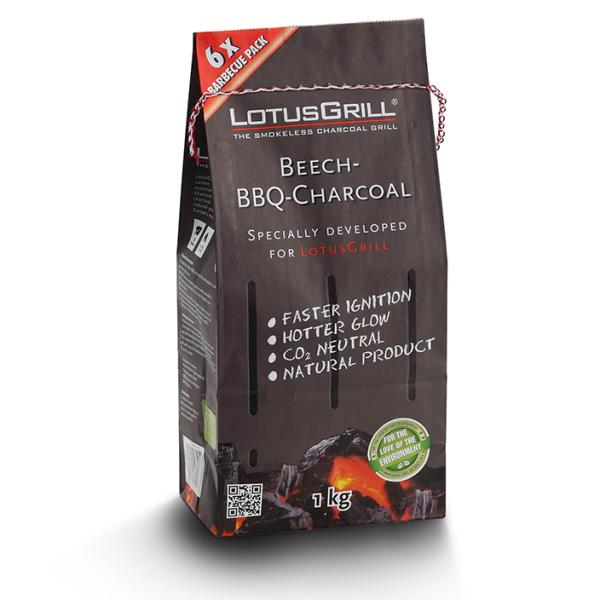 LotusGrill Beech Charcoal - 1 KG                                                             Natural Beech Charcoal, High quality charcoal, charcoal for grill, CO2 Natural, Environment Friendly