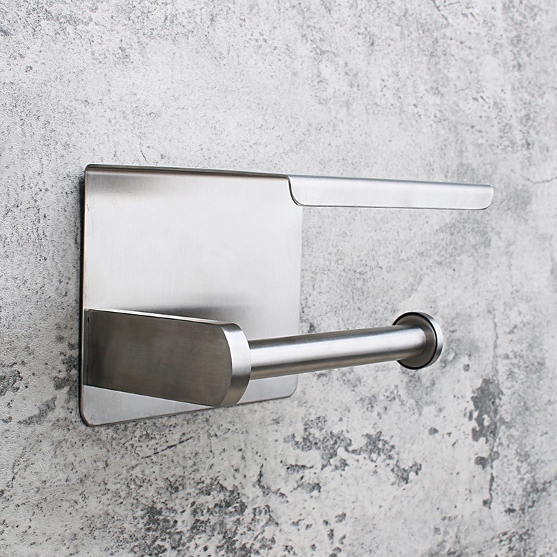 Self-Adhesive or Wall-Drilling Toilet Paper Holder Tissue Holders Paper Storage with Mobile Phone Storage Shelf,Stainless Steel Brushed Nickel