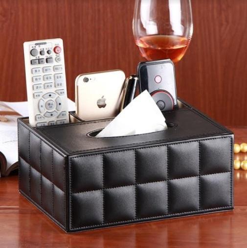 Black TV Remote Leather Desktop Tissue Organizer  - 1 sets