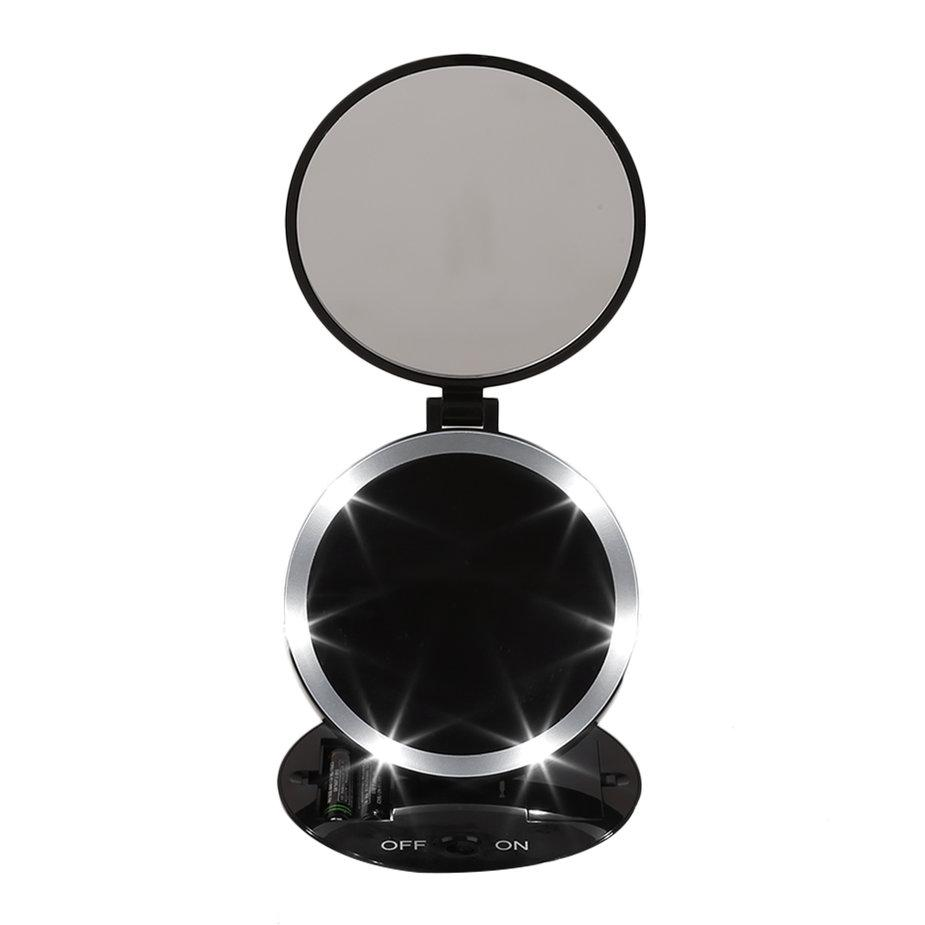 Hot Sale Portable Size Round Shape Double Sided Desktop LED Makeup Mirror With Light