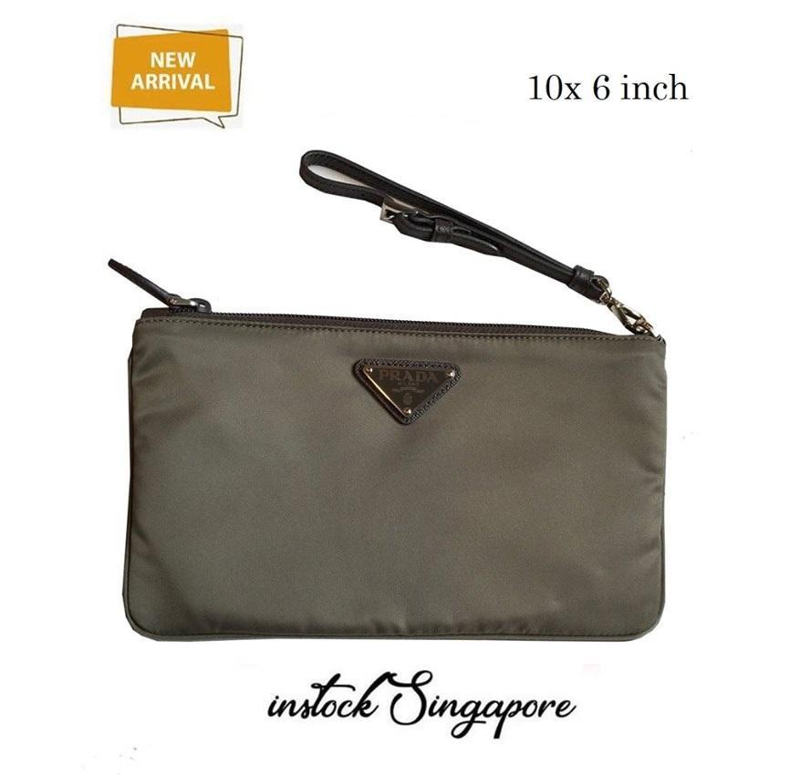 Authentic Prada military green brown  Tessuto Nylon Logo Cosmetic Case Clutch Wristlet Bag 1NH545