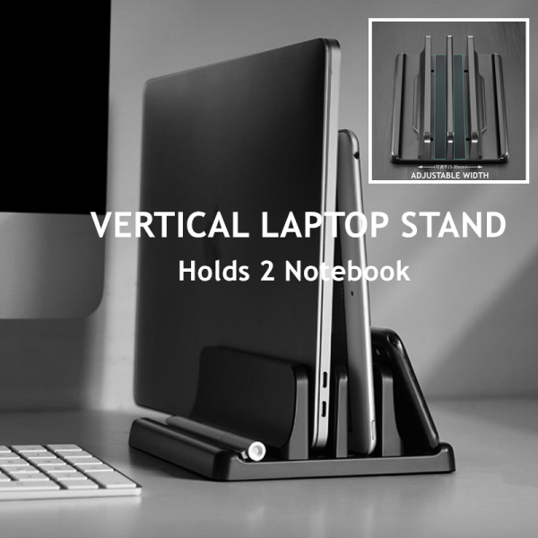 Mountain Stand Laptop Stand with Double Slots Holds 2 Notebook At One Time Adjustable Width Notebook Stand