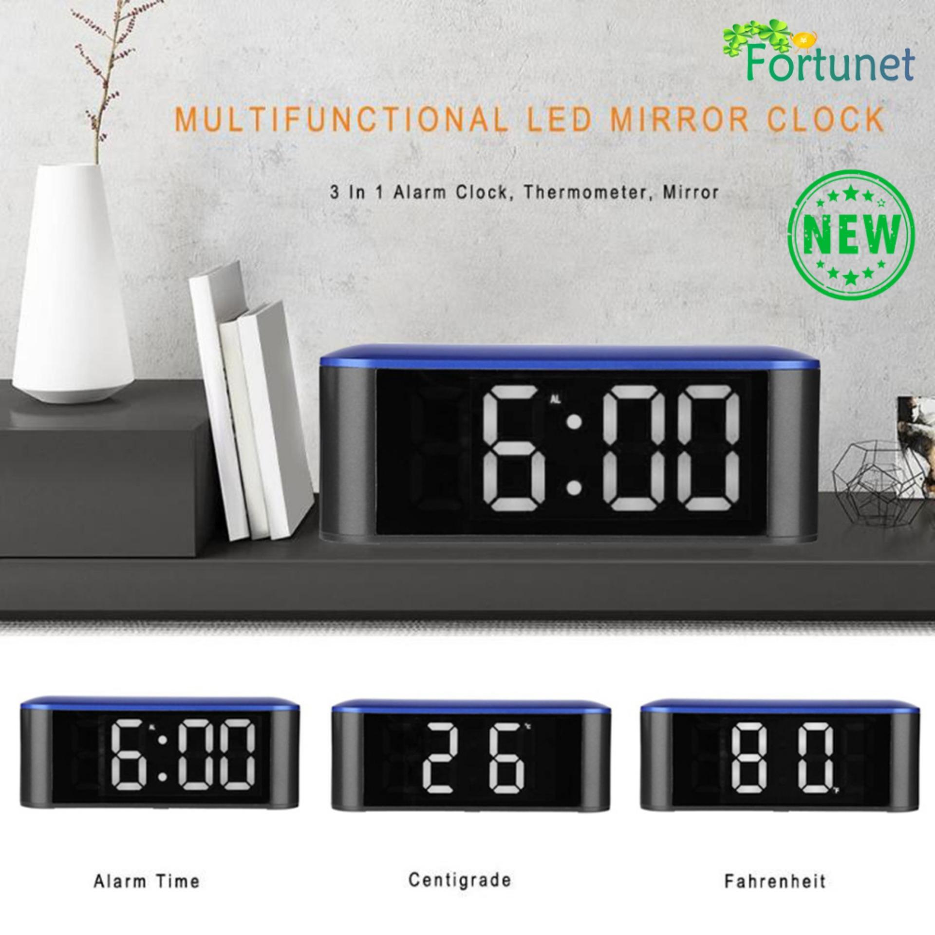 Fortunet LED Digital Alarm Clock, with USB Port for Phone Charger, 0-100% Dimmer, Touch-Activated Snooze.