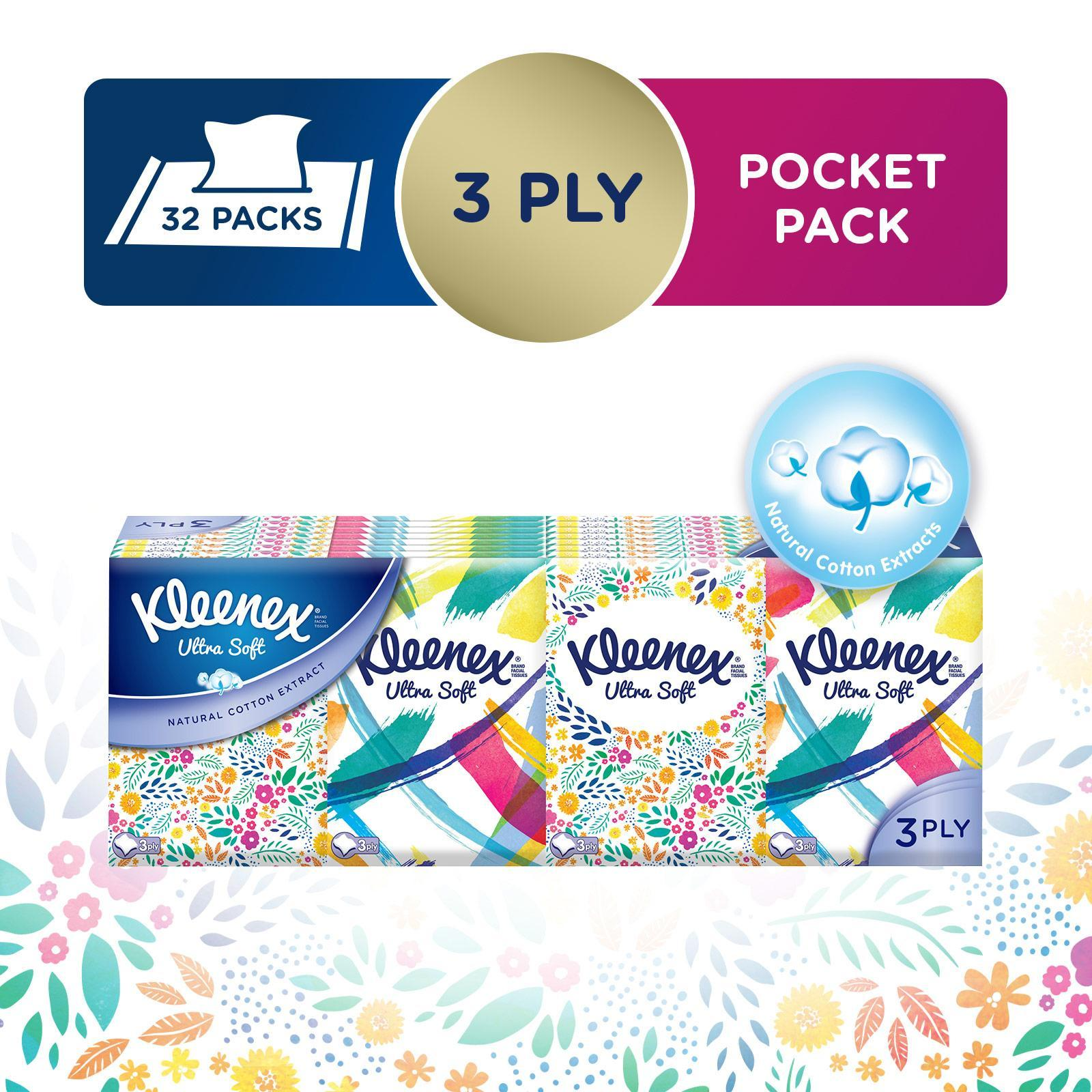 Kleenex Ultrasoft Facial Tissues Pocket Packs
