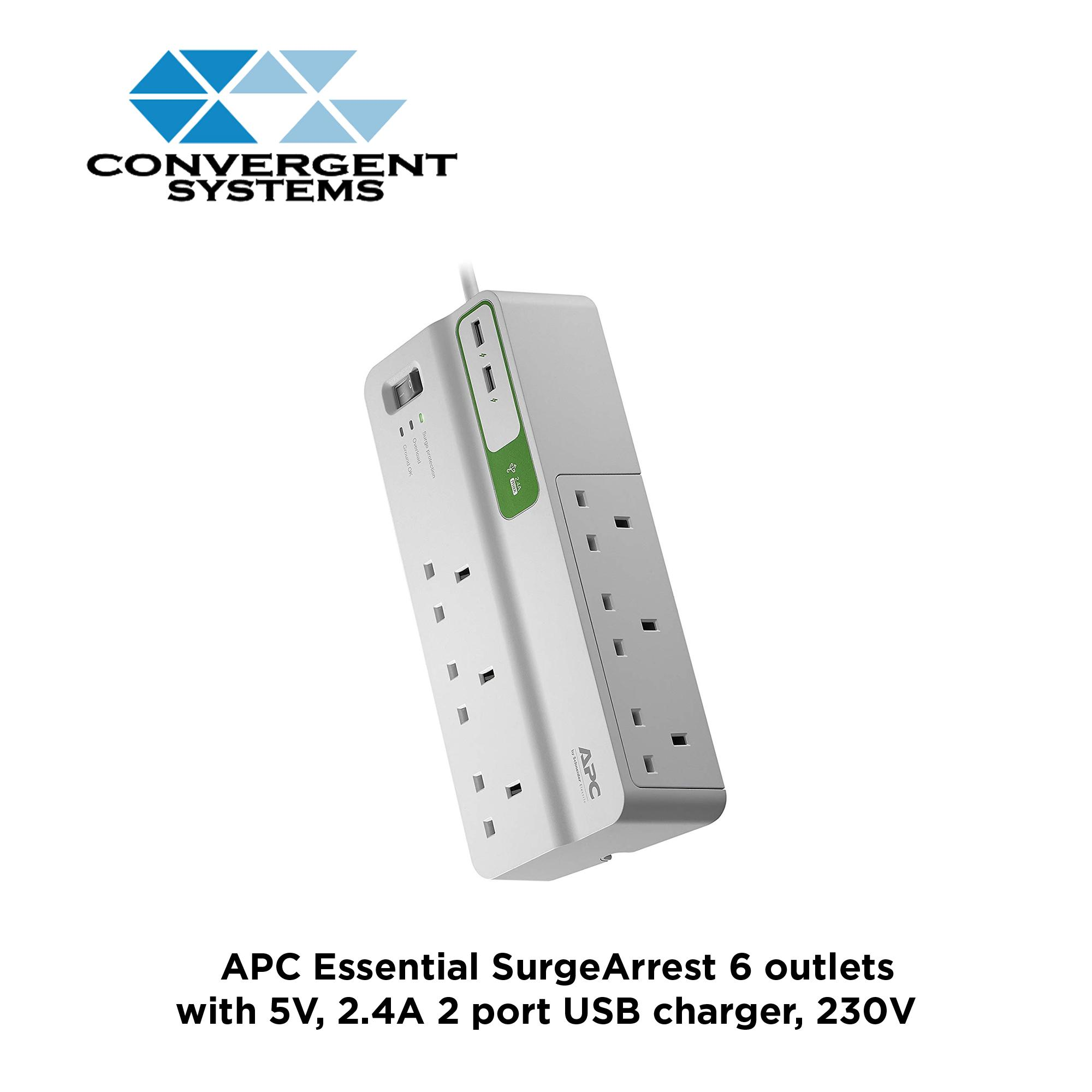 APC Essential SurgeArrest 6 outlets with 5V, 2.4A 2 port USB charger, 230V UK