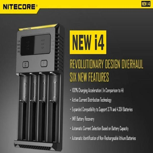 Original Nitecore New I4 Battery Charger Li-ion Fast Charger 12V Charging for rechargable battery