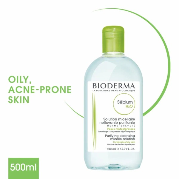 Buy BIODERMA Sebium H2O Purifying Micellar Water (Facial Non-Rinse Cleanser for Oily, Acne-Prone Skin) 500ml Singapore