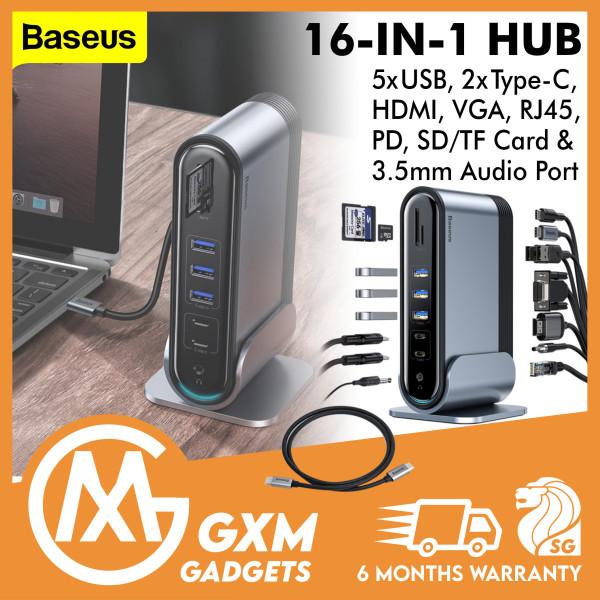 Baseus 16 in 1 USB C HUB Type C to Multi HDMI RJ45 VGA USB 3.0 2.0 with Power Adapter Docking Station for MacBook Pro Type-c Hub