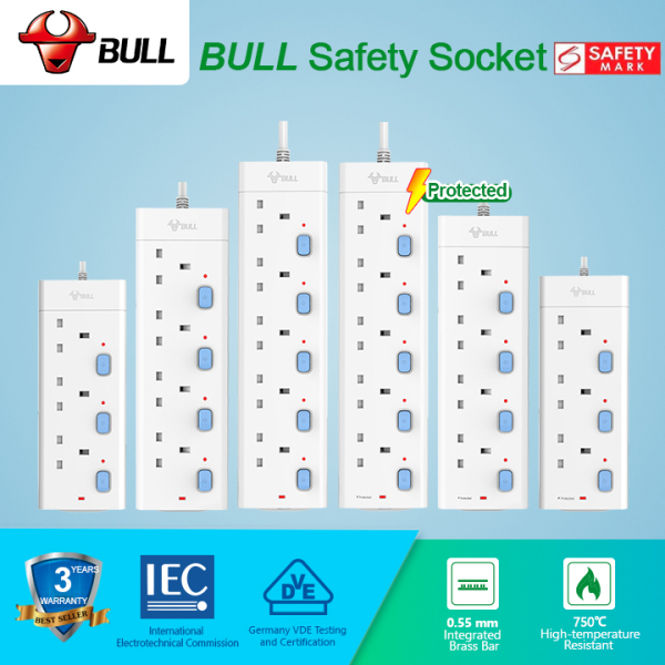 Bull Safety Socket 3/4/5 Way Extension Socket Outlet with Safety Mark& 3 Years Warranty GNSG-ALL Professional Lightning Protection & Surge Protector For Computer. Power Strip have LED Indicator & 2-PIN Plug Friendly(1.8/3.0/5.0 Meters Power Cord)