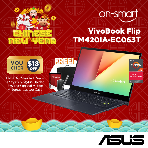 【Next Day Delivery】ASUS VivoBook Flip TM420IA-EC063T | AMD Ryzen54500UProcessor | 8GB RAM | 512GB NVMe SSD | 14 FHD Touch Display | AMD Radeon Graphics | Windows 10 Home | 1 Year International Warranty