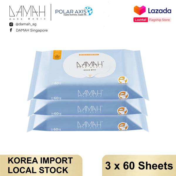Buy 【Korea Import】DAMAH 다크 매직 Feminine Wipes Flushable Personal Sanitary Wipes Toilet Wet Wipes Tissue (3*60s/pack, Suitable pH, Aloe Essence) Singapore