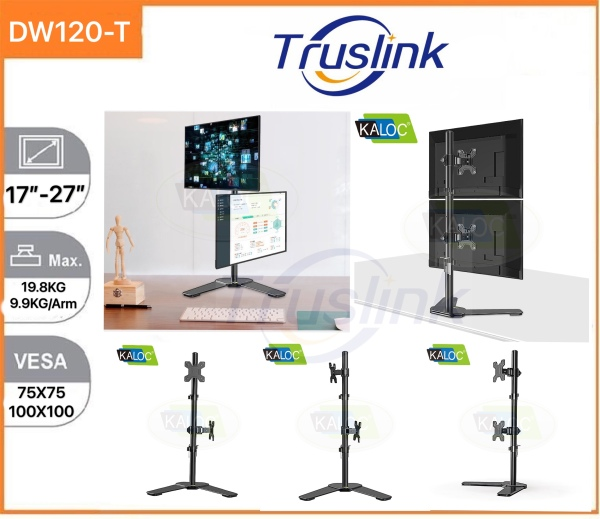 【SG Seller】Truslink Original Kaloc DW120-T Up Down Dual Monitor Desk Stand Free Standing Adjustable Height Two Monitor Mount for Two 17 to 27 inch LCD Screens with Tilt, 9.9KG Per Arm Up Down Adjustment