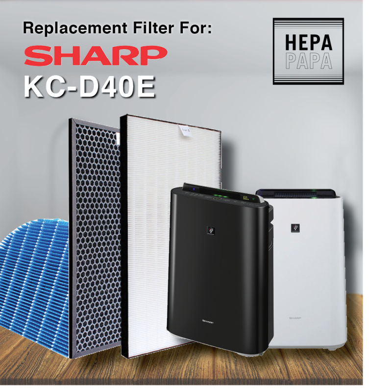 Sharp KC-D40E Compatible Filters (HEPA+Carbon+Humidifier filter)  (FZ-D40HFE/FZ-D40DFE/FZ-A60MFE) [Free Alcohol Swab] [SG Seller] [7 Days Warranty] [HEPAPAPA] Singapore